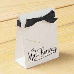 """""""Merci Beaucoup"""" Paris Doodle Sketch Baby Shower Favor Box"""