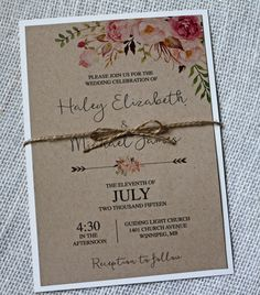 Rustic Chic Wedding Invitation, Lace Wedding Invitation, Floral Watercolour, Watercolor invitation, Kraft Wedding Invitation,Vintage Wedding by LoveofCreating on Etsy https://www.etsy.com/listing/246618997/rustic-chic-wedding-invitation-lace