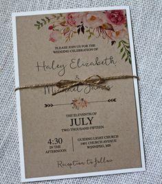 Rustic Chic Wedding Invitation, Lace Wedding Invitation, Floral Watercolour, Watercolor invitation, Kraft Wedding Invitation,Vintage Wedding by LoveofCreating on Etsy https://www.etsy.com/listing/246618997/rustic-chic-wedding-invitation-lace
