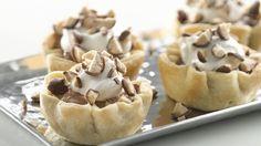 Mini Malted Milk French Silk Pies - French silk pie gets a flavor update with malted milk powder.