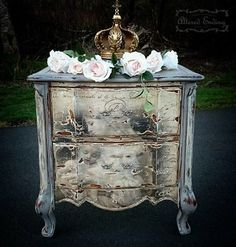"Image Transfer Night Stand~ I created this Madonna and Child image transfer chest with an Heirloom Traditions Paint product called This chest and image were also heavily distressed after being chalk-painted for the ""Old World"" feel that I love. Furniture Repair, Chalk Paint Furniture, Hand Painted Furniture, Furniture Upholstery, Furniture Makeover, Diy Furniture, Rehabbed Furniture, Furniture Refinishing, Dresser Makeovers"