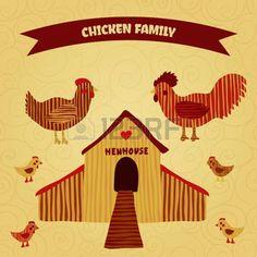 poulailler: affiche organique de ferme drôle de bande dessinée de poulet de la famille: coq, poule avec des poulets, poulailler. Main dessinée rétro illustration vectorielle