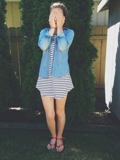 stripes • dress • denim • Tevas