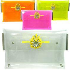 $19 Neon Clear see through vinyl PVC transparent envelope perspex clutch bag handbag | eBay