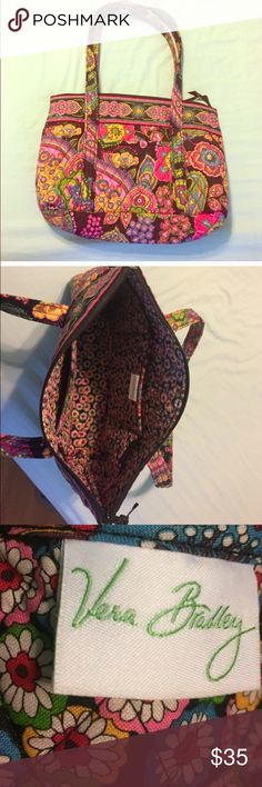 "✨BEAUTIFUL VERA BRADLEY BAG✨ Beautiful brand new Vera Bradley bag features an outside front pocket; two-3 sectional pockets on the inside. Perfect for cell phone, sunnies, wallet, etc. Top zip closure. 14"" Wide; 10"" Length; Soft, but durable bottom. MINT CONDITION!  NEVER USED. 💯% Authentic 🚫TRADES Vera Bradley Bags Totes"