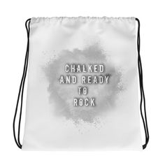 Chalked & Ready To Rock - Drawstring bag. Combine your love for vibrant prints and a sporty style with a cool drawstring bag. Gym Essentials, Drawstring Bags, Sporty Style, Carry On Bag, Gym Bag, Rock, Shop, Fabric, Prints