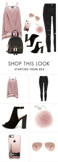 """Casual"" by ashleydawn2 ❤ liked on Polyvore featuring DailyLook, River Island, Bamboo, Casetify, Ray-Ban and MICHAEL Michael Kors"