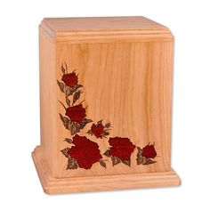 Red Roses Wooden Cremation Urn