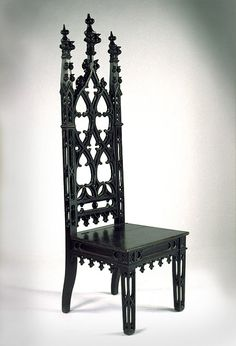 Gothic Revival Mahoganized Oak Hall Chair