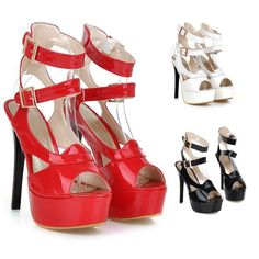 Newly Women Stilettos Roman Peep Toe Pumps High Heels Party Wedding Buckle Shoes