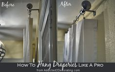 How to hang draperies like a pro. For those of you who arent familiar with this simple trick used by the pros.what a difference it can make in the appearance of your draperies. - Decoration for House Home Curtains, Hanging Curtains, Hang Curtains Like A Pro, Luxury Curtains, Beige Curtains, Purple Curtains, Cheap Curtains, Nursery Curtains, Farmhouse Curtains