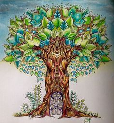 Tree enchanted forest by royalcolouring Coloring Book Art, Colouring Pages, Adult Coloring, Maple Tree Tattoos, Enchanted Forest Coloring Book, Forest Drawing, Johanna Basford Coloring Book, Trendy Tree, Color Pencil Art