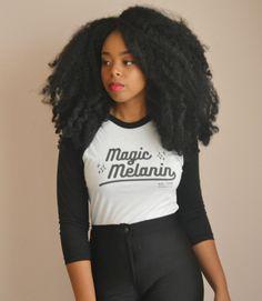 """Magic Melanin"" UNISEX Varsity 3/4 sleeve raglan tee (More Colors) - Adorned By Chi - 8"