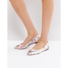 Oasis Royal Worcester Floral Print Ballerina Pump (£25) ❤ liked on Polyvore featuring shoes, pumps, multi, pointy-toe pumps, flat shoes, flat sole shoes, slip on shoes and ballet shoes