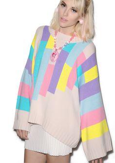 Wildfox Couture 80s Blocks Chunky Oversized Sweater | Dolls Kill