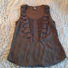 Taupe H&M Blouse Taupe H&M Ruffle Blouse. Excellent condition! Worn once. H&M Tops Blouses