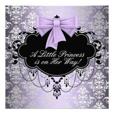 purple baby shower invitations | Silver Purple Black Princess Baby Girl Shower Personalized ...