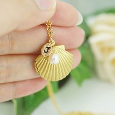 Personalized Sea Shell Locket necklace with by earringsnation