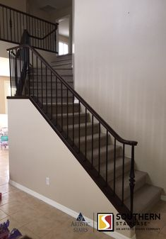 Straight Staircase With A Wooden Baluster System. #homedecor #design  #modernarchitecture #architecture