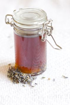 one bottle of syrup with lavender buds