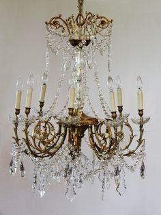 Antique Rare Baccarat Gilt Bronze Crystal Chandelier Showstopper-antique, chandelier, hanging light, lighting, vintage, crystal, baccarat,