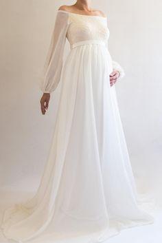 20fd20f476486 ANNABELLE Bohemian Wedding Maternity Gown, Boho Maternity Dress for Baby  Shower, White Maternity Dress for Photoshoot, Long Sleeved Dress