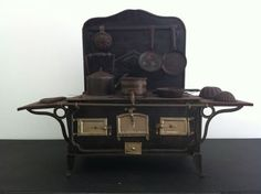 Antique Working Toy Stove with Pots and Pans
