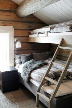 newly built high standard cottage in laft that is close to the new express . Chalet Design, Cabin Design, House Design, Cabin Homes, Log Homes, Bunk Rooms, Cottage Interiors, Small Cabin Interiors, A Frame House