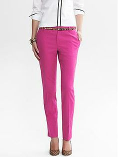Camden-Fit Pink Jacquard Skinny Ankle Pant | Banana Republic