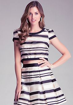 Shop bebe for: Tops - Sheer Stripe Woven Top - Swank sheer organza top with  glossy mix-hued satin stripes and adorable gathered cap sleeves. Jersey  back and ...