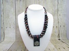 Jasper Kumihimo Beaded Necklace with Pendant - K24 - SALE by daksdesigns on Etsy