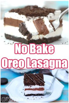 Looking for a no bake dessert that's out of this world? Then you need to try my No Bake Oreo Lasagna Recipe. This heavenly dessert will be a giant hit wherever you take it! Best of all no cooking! Healthy Dessert Recipes, Cookie Recipes, Delicious Desserts, Snack Recipes, Yummy Food, Vegetarian Desserts, Drink Recipes, Tasty, Snacks