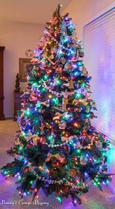 Classic Christmas tree with colored lights
