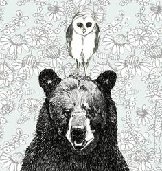 Owl and Bear Illustration - Just The Two Of Us #etsy