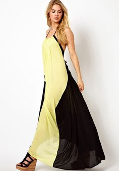 Yellow Color Block Pleated Sleeveless Dacron Maxi Dress