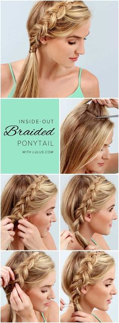 Best Summer Hairstyles - Braided Ponytail Step by Step to Hide Summer Sweat - Easy And Beautiful Short Hairstyles And Easy Summer Hairstyles That Are Cute And Work Great For Medium Hair, Long Hair, Short Hair, And Very Short Hair. Hairstyles, Undo�s, Braids, And Ponytail Looks To Keep You Cool This Summer. Great Step By Step Tutorials And Tricks For Teens And Quick And Cute Looks For Brunettes With Shoulder Length Hair. Great Summer Hairstyles For The Beach, For Any Color, And Special Hacks