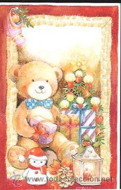TARJETA NAVIDAD Mª ROSA SOLÁ * OSITO CON REGALOS * (Postales - Navidad)