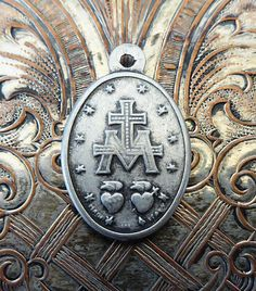 Miraculous Medal Of The Immaculate Conception 1830 Blessed Virgin Mary Mother Of God Burnished Italian Medallion, Catholic Pendant Necklace