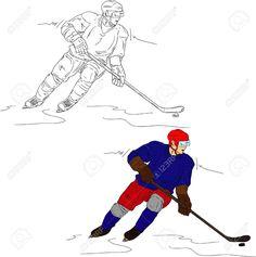 joueur de hockey isolé sur fond Banque d'images