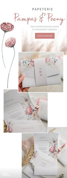 """& Peony"""" wedding stationery The trend pampas and the trend peonies are combined in this stationery: """"Pampas & Peony"""".""""Pampas & Peony"""" wedding stationery The trend pampas and the trend peonies are combined in this stationery: """"Pampas & Peony"""". Diy Wedding Programs, Diy Wedding On A Budget, Wedding Themes, Wedding Designs, Wedding Cards, Wedding Colors, Wedding Styles, Wedding Venues, Wedding Decorations"""