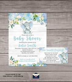 Rustic Elephant Baby Shower Invitations for a boy!  We also include other matching items that are available for instant download which you can print at home for your event! For matching items, please click the following link