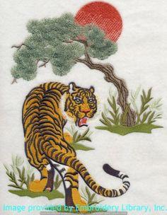 Stickmotiv Stickbild Aufnäher Stickerei Emblem Asien Tiger Tiger / Stickerei Tiger and Kanji - Tiger (H6224)