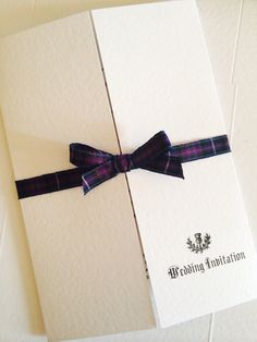 Spirit of Scotland tartan.  Gatefold white textured card with Scottish theme. By Made Marvellous.