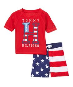 Another great find on #zulily! Red, White & Blue 'Tommy' Rashguard Set - Infant, Toddler & Boys #zulilyfinds