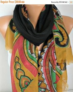 ON SALE  Floral Cotton Scarf Fall Shawl Summer by fatwoman on Etsy