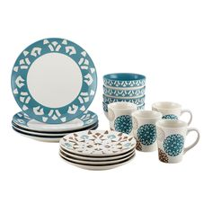<p>Adorn the tabletop for everyday eating and entertaining both, with the Rachael Ray Pendulum 16-Piece Stoneware Dinnerware Set. The unique geometrics and visual beauty of Mediterranean tilework and floor mosaics inspire this stylish, distinctive pattern. This casual dinnerware set includes place settings for four, including dinner and salad plates, cereal bowls and beverage mugs. Thanks to Rachel's keen eye for stylish home design, every piece in this versatile set of dishes ...