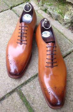 Handmade Men Tan Oxford brogue formal dress shoes, Men Tan leather shoes sold by Rangoli Collection. Hot Shoes, Men's Shoes, Shoe Boots, Dress Shoes, Shoes Men, Formal Shoes, Casual Shoes, Formal Dress, Oxford Brogues