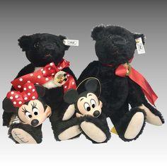 2 Steiff Black Bear Walt Disney World Teddy Bear Convention Mickey Minnie Mouse Original Limited Edition Vintage Teddy Bears, Cute Teddy Bears, Steiff Teddy Bear, Love Bear, Mother Goose, Mickey Minnie Mouse, Black Bear, Ruby Lane, Disney Love