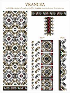 Semne Cusute: iie din Vidra, Vrancea, MOLDOVA Folk Embroidery, Learn Embroidery, Embroidery For Beginners, Cross Stitch Embroidery, Embroidery Patterns, Knitting Patterns, Cross Stitch Borders, Cross Stitching, Cross Stitch Patterns