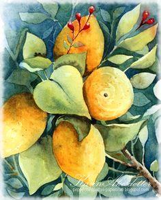 Peppermint Patty's Papercraft: Sunday Watercolors ( - on a Saturday) ; Lemon tree